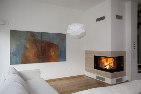 16164873 - fireplace in bright and contemporary living room